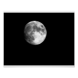 Full Moon in Black & White Poster