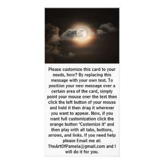 Full Moon in Cloudy Night Personalized Photo Card
