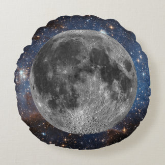 Full Moon in Outer Space Round Cushion