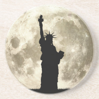 Full Moon Liberty Silhouette Beverage Coasters