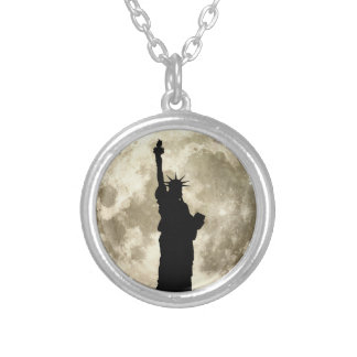 Full Moon Liberty Silhouette Silver Plated Necklace