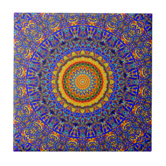 Full Moon Mandala Kaleidoscope Ceramic Tile