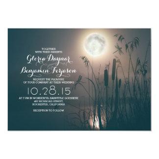 Full moon night dragonfly & water grass wedding 13 cm x 18 cm invitation card