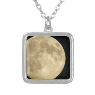Full moon on black background silver plated necklace