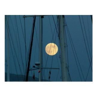 Full Moon Over A Marina Postcard