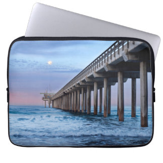 Full moon over pier, California Computer Sleeve