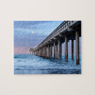 Full moon over pier, California Jigsaw Puzzle
