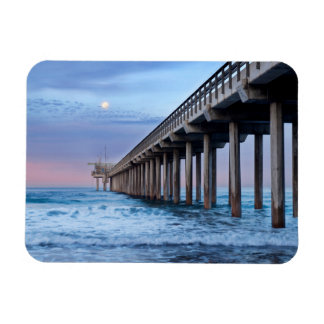 Full moon over pier, California Rectangular Photo Magnet