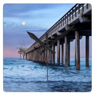 Full moon over pier, California Square Wall Clock