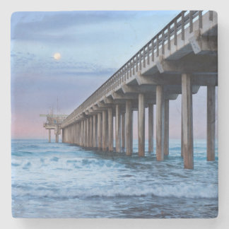 Full moon over pier, California Stone Coaster