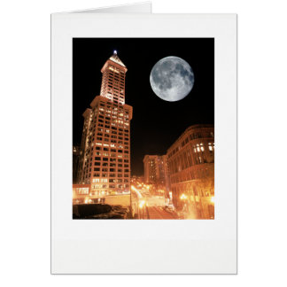 Full Moon Over Smith Tower Seattle Card