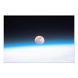 Full moon partially obscured by atmosphere photo art