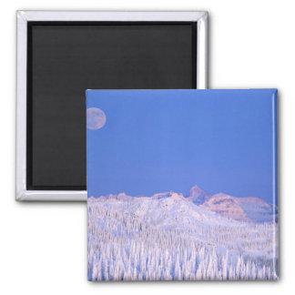 Full moon rising above Glacier National Park Square Magnet