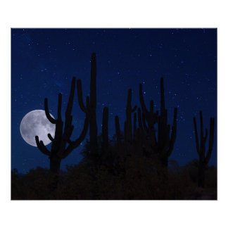 Full Moon Rising in Tucson Poster