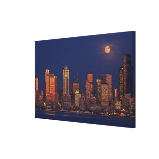 Full moon rising over downtown Seattle skyline Canvas Print