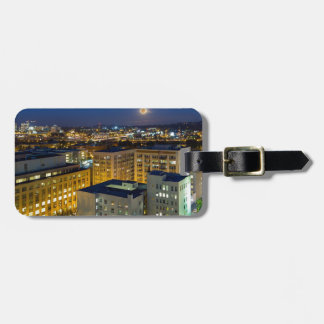 Full Moon Rising over Portland OR Downtown Luggage Tag