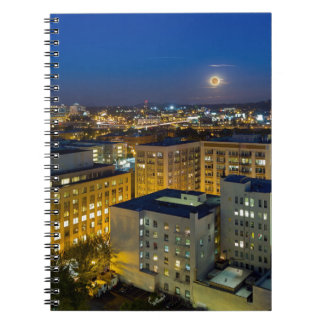 Full Moon Rising over Portland OR Downtown Notebook