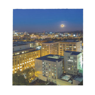 Full Moon Rising over Portland OR Downtown Notepad