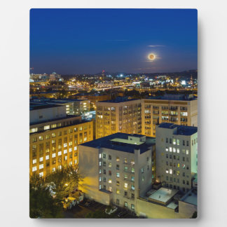Full Moon Rising over Portland OR Downtown Plaque