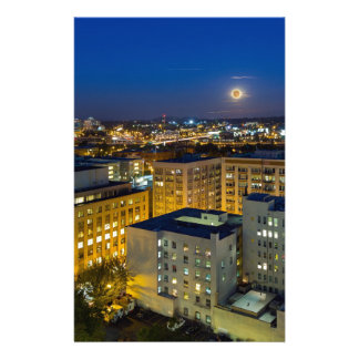 Full Moon Rising over Portland OR Downtown Stationery