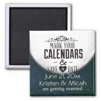 Full Moon Save the Date Square Magnet