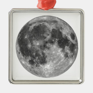 Full moon seen with telescope metal ornament
