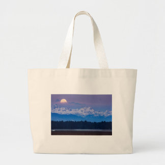 Full Moon setting over the Julian Alps Large Tote Bag