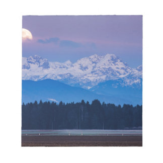 Full Moon setting over the Julian Alps Notepad