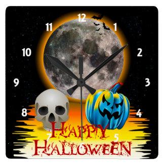Full Moon, Skull and Blue Pumpkin at Night. Wall Clock