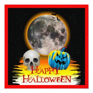 Full Moon, Skull and Blue Pumpkin at Night. 13 Cm X 13 Cm Square Invitation Card