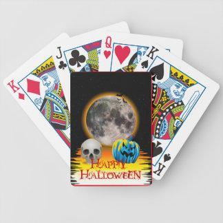 Full Moon, Skull and Blue Pumpkin at Night. Card Deck