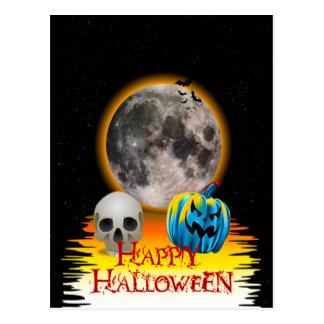 Full Moon, Skull and Blue Pumpkin at Night. Postcard