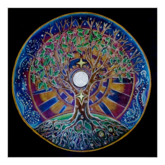 Full Moon Tree of Life Mandala Poster