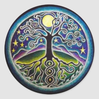 Full Moon Tree of Life Starry Night Mandala Sticke Round Sticker