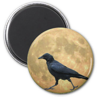 Full Moon, Walking Crow 6 Cm Round Magnet