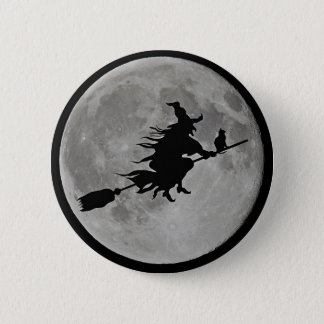 FULL MOON WITCH ON BROOM Halloween Witch  BUTTON