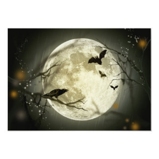 Full Moon with a Crow and Bats Invitation