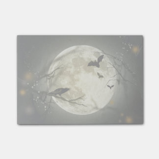 Full Moon with bats and Raven Post-it Notes