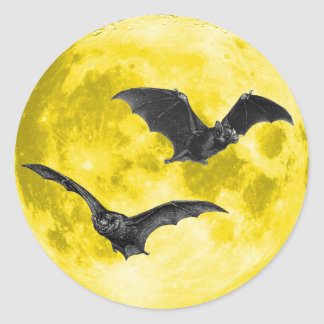 Full Moon with Bats [Envelope Seals/Stickers] Classic Round Sticker