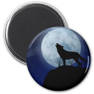 Full Moon Wolf Fridge Magnet