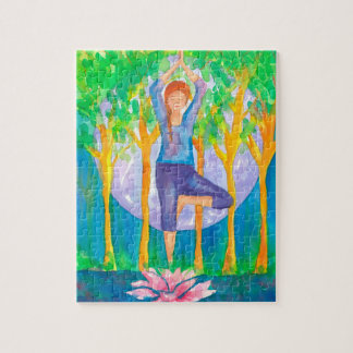Full Moon Woman Yoga Pose Jigsaw Puzzle