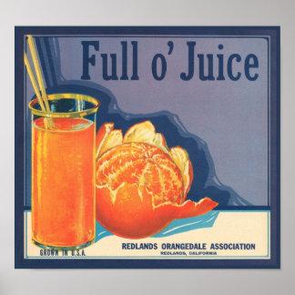 Full O Juice Vintage Crate Label Poster