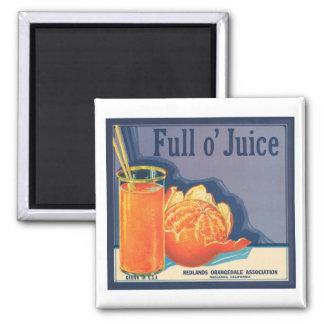 Full O Juice Vintage Crate Label Square Magnet