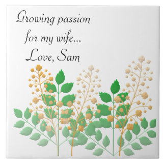 Full of Love Garden Flowers and Leaves Large Square Tile
