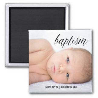Full Photo Baptism Script Square Magnet