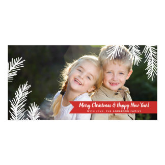 Full Photo Pine Needles Red Banner Holiday Card