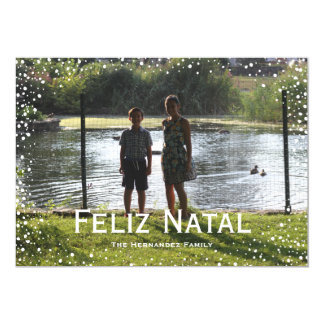 Full Photo Snowfall Custom Card Feliz Natal