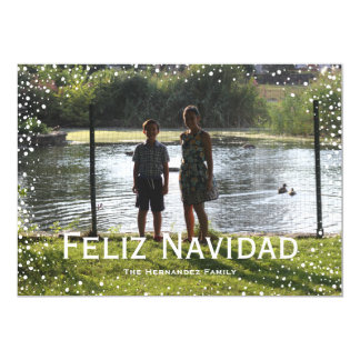 Full Photo Snowfall Custom Card Feliz Navidad