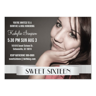 Full Photo Sweet Sixteen Birthday Party 11 Cm X 16 Cm Invitation Card