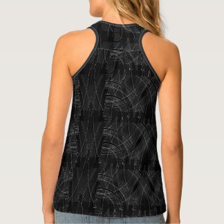 Full Print Edgy Prep Tech Distorted Racer Back Top Tank Top